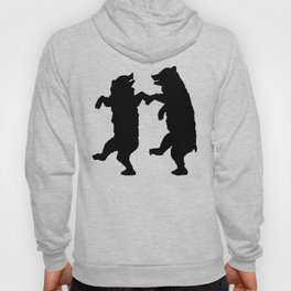 Two Dancing Bears Trees Owl Black Silhouette on White Hoody