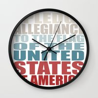 america Wall Clocks featuring America by Jason Michael