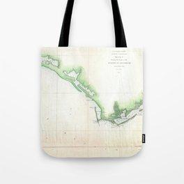 Vintage Florida Panhandle Coastal Map (1852) Tote Bag