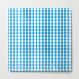 Oktoberfest Bavarian Blue and White Large Gingham Check Metal Print