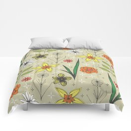 retro styled floral print Comforters