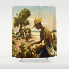 Classical Masterpiece 'Picking Cotton Under the Sun' by Thomas Hart Benton Shower Curtain