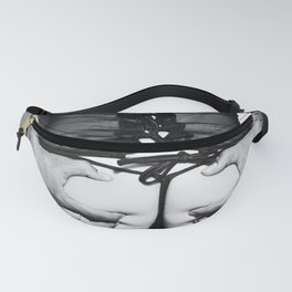 5066 Tattoo Squeeze ~ Black Eros White Love ~ Lingerie Fashion Art Erotica of a Woman & Black Male Fanny Pack