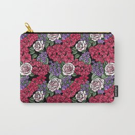 Chevron Floral Black Carry-All Pouch