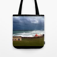 puerto rico Tote Bags featuring San Juan, Puerto Rico by Eleanor Kipping