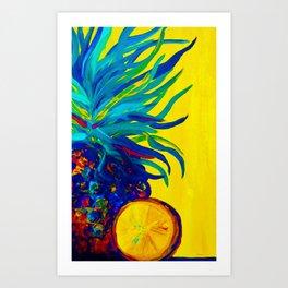 Blue Pineapple Abstract Art Print