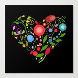 Floral heart on black Canvas Print