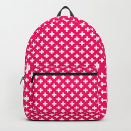 Small White Crosses on Hot Neon Pink Backpack