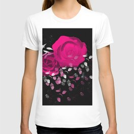Vibrant Pink Roses On Black Background with Falling Petals T-shirt