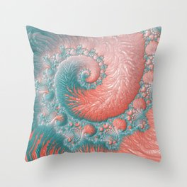 Living Coral Teal Blue Spiral Swirl Pattern Abstract Coral Reef Fractal Throw Pillow