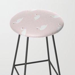 Swan pattern on pink 033 Bar Stool