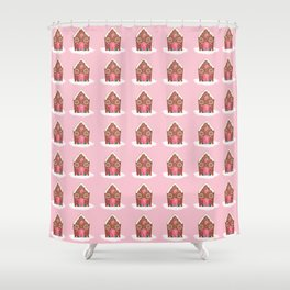 Pink Gingerbread House Shower Curtain