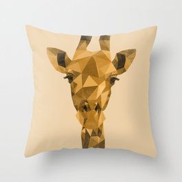 Distressed Low Poly Giraffe Throw Pillow
