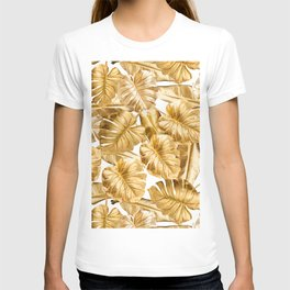 Gold Leaves Aloha Tropical Foliage Pattern T-shirt