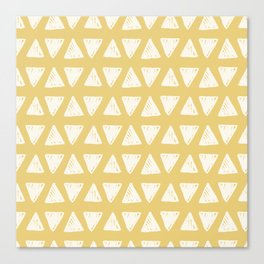 Mustard yellow white hand painted geometrical triangles Canvas Print