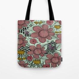 Whimsical Folk Flower Design Tote Bag