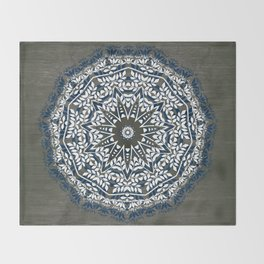 BLUE, GREY AND WHITE MANDALA  Throw Blanket