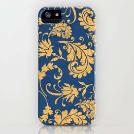 Gold on Blue Pattern iPhone Case