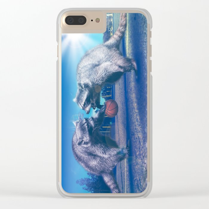 Racoon Basketball Game Clear iPhone Case