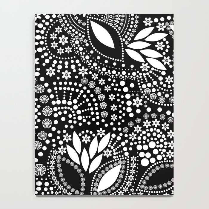 Placer of white beads on a black background . Notebook