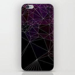 Polygonal purple, black and white iPhone Skin