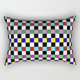 Retro 3 - Abstract, multicoloured, bold, chekkered, checkered pattern Rectangular Pillow