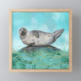 Cute Alaskan Iliamna Seal in Banana Pose Framed Mini Art Print