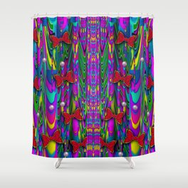 Butterflies and pearls in the rainbow forest Shower Curtain