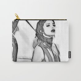 Good Girl knows her place, mistress and pet, slave girl fetish, black and white Carry-All Pouch