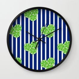 Lime Slices on Navy and White Stripes Wall Clock