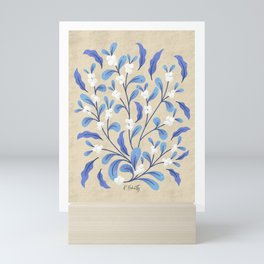 Snowberry Botanical | Blue on Tan Mini Art Print