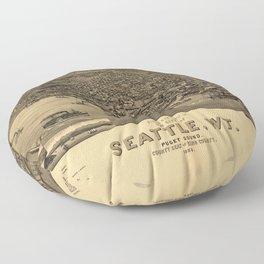 Bird's Eye View of Seattle, Washington (1884) Floor Pillow