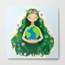 Beautiful Flowing Flower Earth Mother Figure Metal Print
