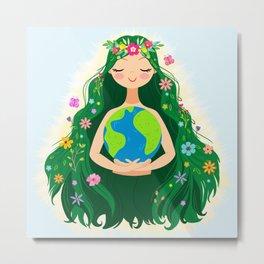Beautiful Flowing Flower Earth Mother Figure Metal Print