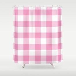 Light Pink Gingham Pattern Shower Curtain