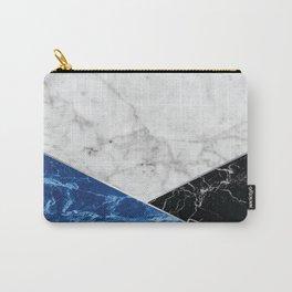 Geometric White Marble - Blue Granite & Black Granite #514 Carry-All Pouch