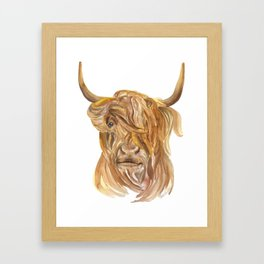 Highland Cow Watercolor Framed Art Print
