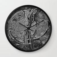 paris Wall Clocks featuring Paris map by Le petit Archiviste