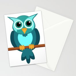 Blue Chibi Owl Stationery Cards