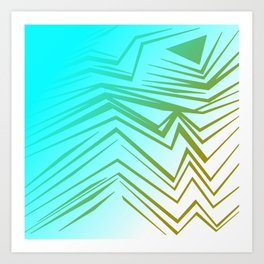 wild blue with gold Art Print