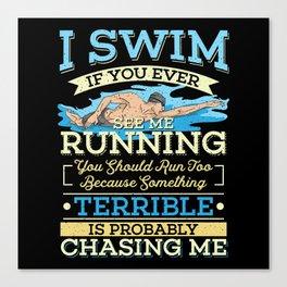Funny Swimming Canvas Print