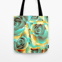 blue roses in yellow clouds Tote Bag