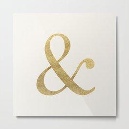 Gold Glitter Ampersand Metal Print