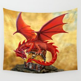 Red Dragon's Treasure Chest Wall Tapestry