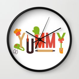 Yummy Art Print Set Kitchen Art Living Room Interior Design Printing for Wall Home Decor In Green Be Wall Clock