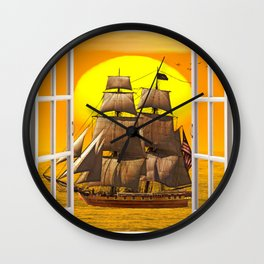 American Frigate Sailing Against a Sunset Wall Clock