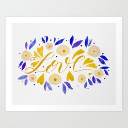 Love and flowers - yellow and purple Art Print