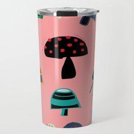 Cute Mushroom Pink Travel Mug