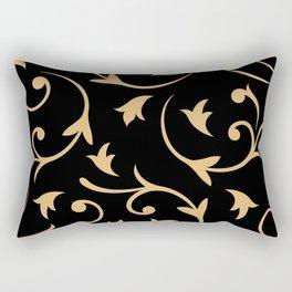 Baroque Design – Gold on Black Rectangular Pillow