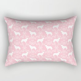 Golden Retriever floral silhouette dog silhouette pink and white minimal basic dog lover art Rectangular Pillow